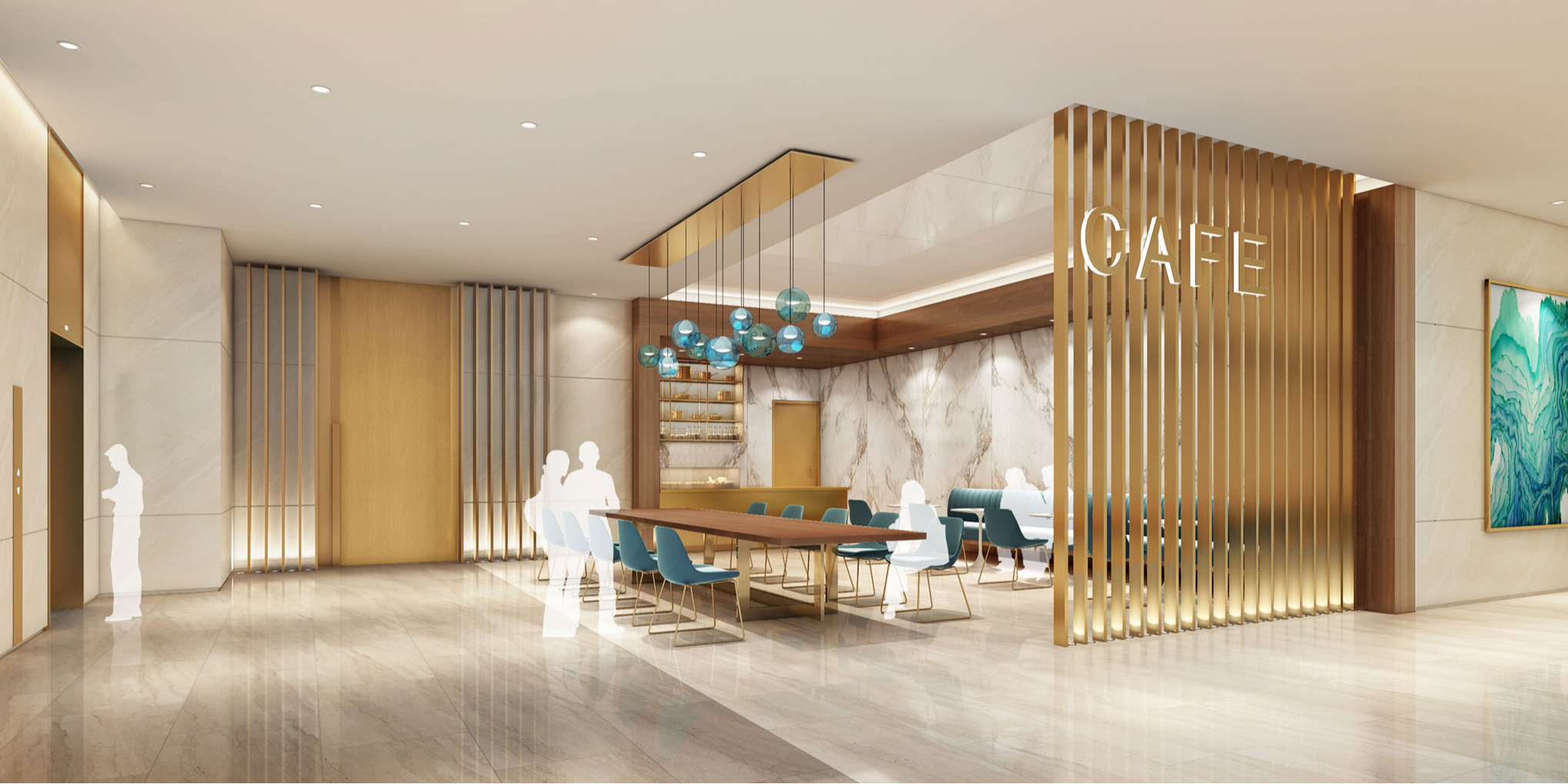 Cafe concept at Lanhai Medical Center, the World's Largest Clinic in the Luijiazui Financil Center in Shanghai, China