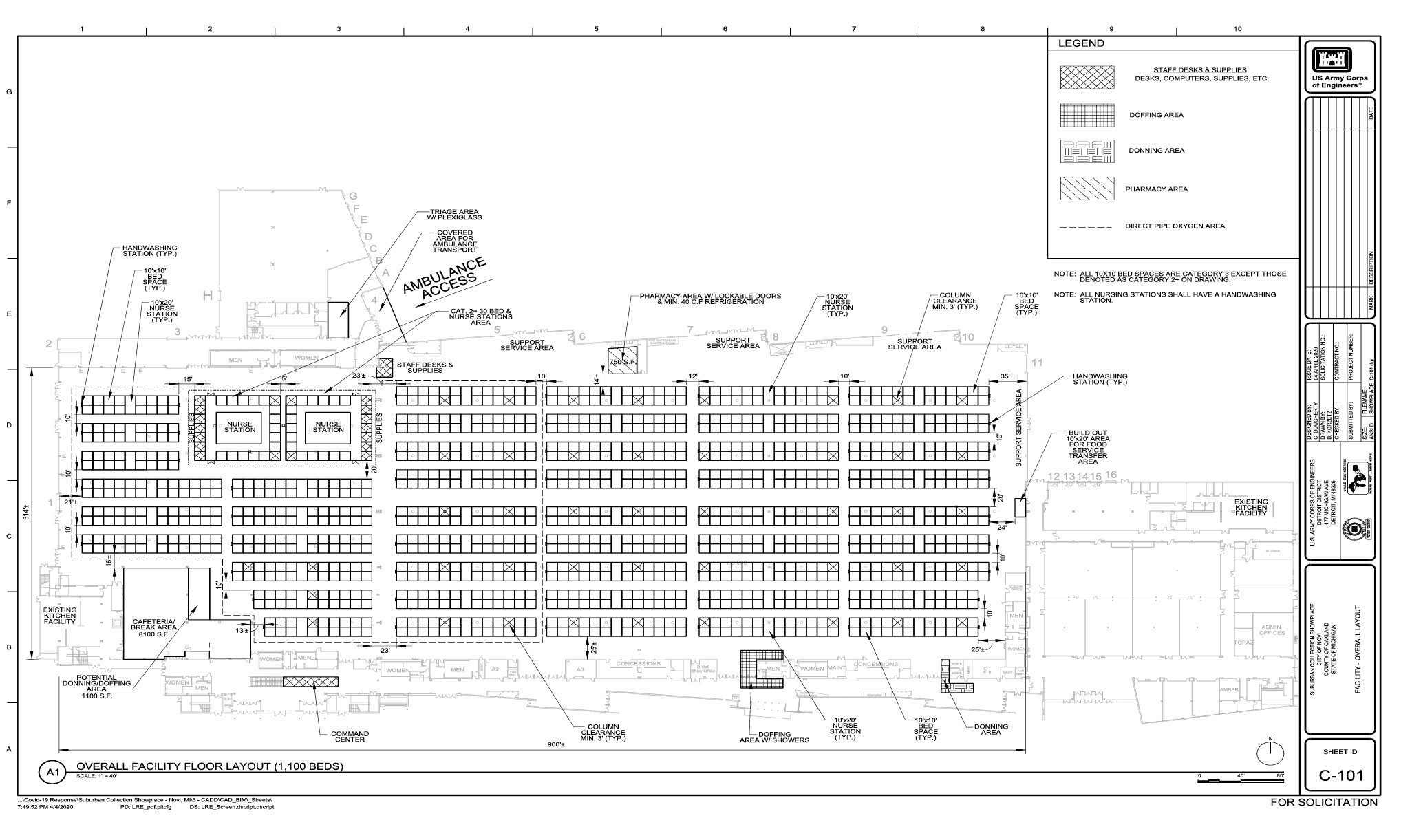 The 1,100-bed floorplan at the expo and convention center space in Novi, Michigan.