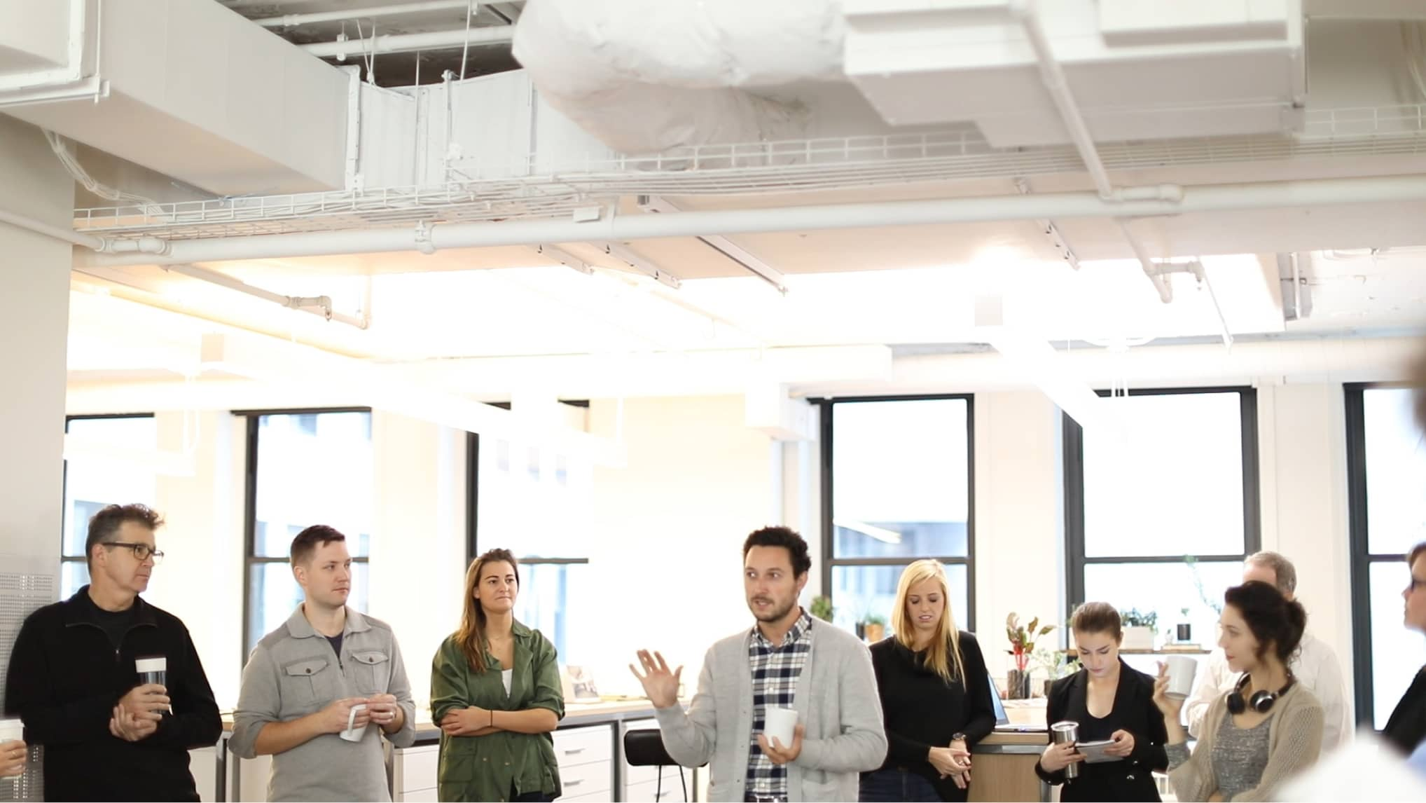 At the HKS Chicago office, Dr. Tommy Zakrzewski describes the components of our 'Living Lab' — a workplace proven to enhance employee health and well-being with sustainable, high-performance design.